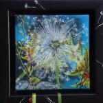 "57. ""Little blue dandelion"" 10 x 10 cm. 850,- kr."