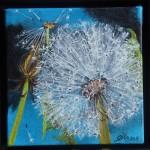 "64. ""Little blue dandelion IV"" 10 x 10 cm. 850 kr."