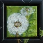 """67. """"Little green dandelion VII"""" 10 x 10 cm 850,- kr."""