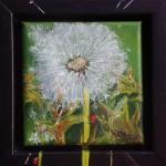 "68. ""Little green dandelion"" 10 x 10 cm 850,- kr."