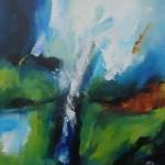 "41. ""Summerrain in mountains"" 50 x 50 cm. 3500,- kr."