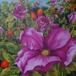 """16. """"Wild rose"""" 80 x 80 cm. 7000,- kr."""