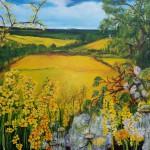 """49. """"Yellow springtime"""" 80 x 80 cm Pris: 7500,- kr"""