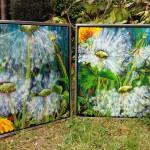 """24 og 22. """"Smiling and blowing dandelion"""" 60 x 60 cm. 5500,- kr./stk."""