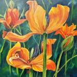"92. ""Summertulips"" 50 x 50 cm. 4300,- kr."