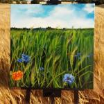 """""""Cornfield in June"""" 80 x 80 cm. 7500,- kr."""