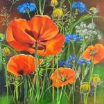 Poppies. 30 x 30 cm. Pris: 2600,- kr.