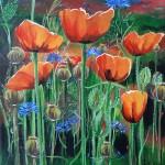 Poppies 30 x 30 cm. Pris: 2600,- kr.