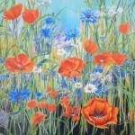 """52. """"Summerflowers"""" 80 x 80 cm Pris: 7000,- kr."""